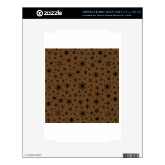 Snowflakes – Black on Dark Brown NOOK Decals