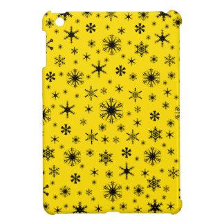 Snowflakes – Black on Golden Yellow Case For The iPad Mini