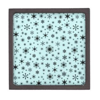 Snowflakes – Black on Pale Blue Premium Keepsake Boxes