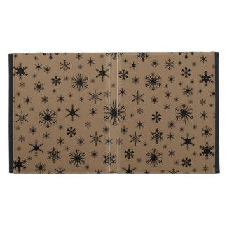 Snowflakes - Black on Pale Brown iPad Cases