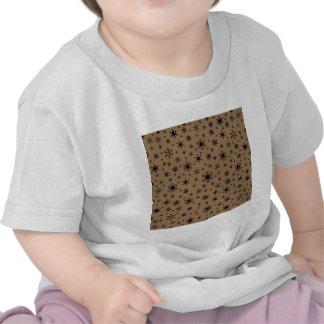 Snowflakes – Black on Pale Brown T Shirt