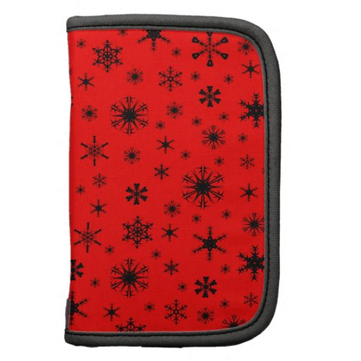 Snowflakes – Black on Red Planners