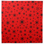 Snowflakes – Black on Red Printed Napkins