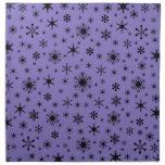Snowflakes – Black on Ube Napkin