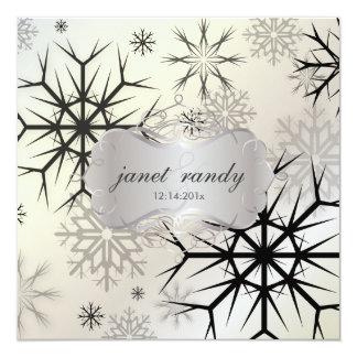Snowflakes, Black, Winter Wedding Invitations