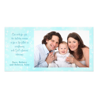 Snowflakes Blue Christian Christmas Photo Cards