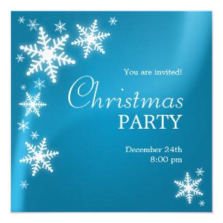 "Snowflakes Blue Christmas Party invitation 5.25"" Square Invitation Card"