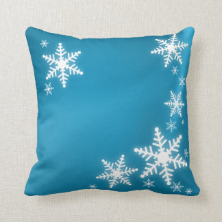 Snowflakes Blue Frosted Christmas pillow