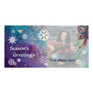 SNOWFLAKES, blue,green,white,yellow Photo Card