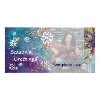 SNOWFLAKES, blue,green,white,yellow Photo Greeting Card