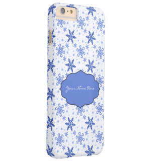 Snowflakes Blue on White Barely There iPhone 6 Plus Case