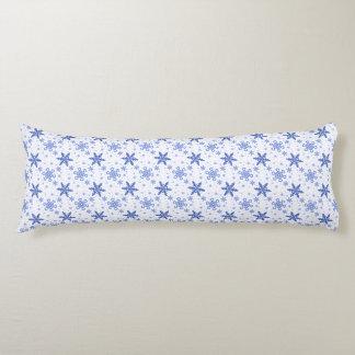Snowflakes Blue on White Body Pillow