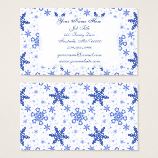 Snowflakes Blue on White Business Card