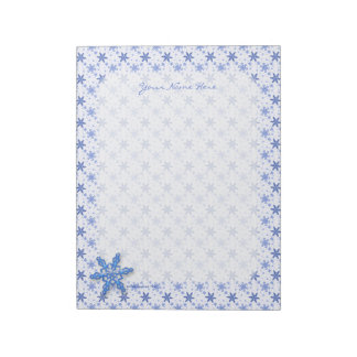 Snowflakes Blue on White Note Pads