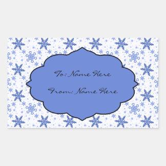 Snowflakes Blue on White Rectangular Sticker