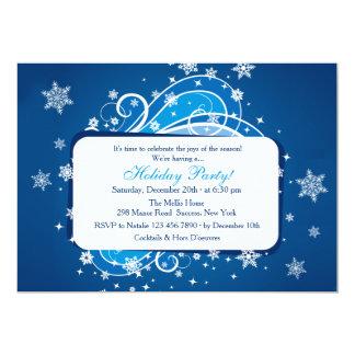 Snowflakes Blue Party Invitation