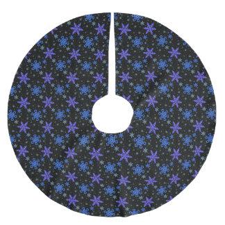 Snowflakes Blue Purple on Black Brushed Polyester Tree Skirt