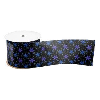 Snowflakes Blue Purple on Black Satin Ribbon
