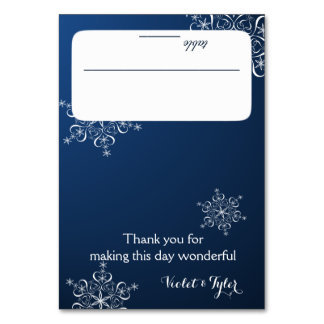 Snowflakes Blue Seating Card