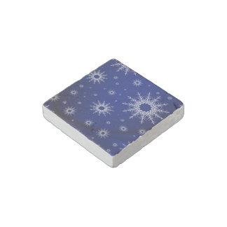 snowflakes blue stone magnet