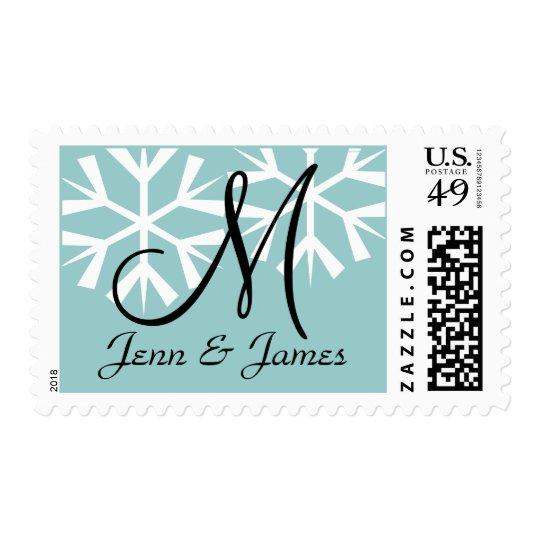 Snowflakes Blue Wedding Postage Stamps