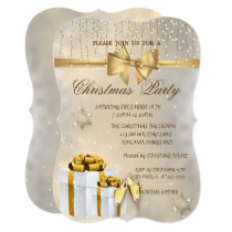 Snowflakes,Bow,Presents, Company Christmas Party Invitation