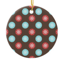 snowflakes brown and blue polka dots ceramic ornament