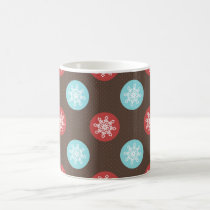 snowflakes brown and blue polka dots coffee mug