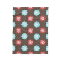snowflakes brown and blue polka dots fleece blanket