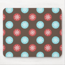 snowflakes brown and blue polka dots mouse pad