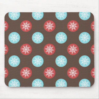 snowflakes brown and blue polka dots mouse pad