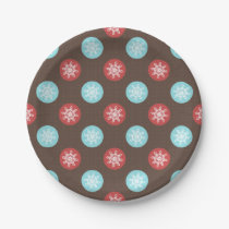 snowflakes brown and blue polka dots paper plate