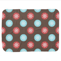 snowflakes brown and blue polka dots stroller blanket