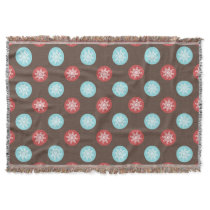 snowflakes brown and blue polka dots throw blanket