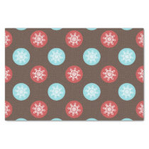 snowflakes brown and blue polka dots tissue paper