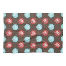 snowflakes brown and blue polka dots towels