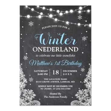 Toddler & Baby themed Snowflakes Chalkboard Lace Baby Boy First Birthday Card