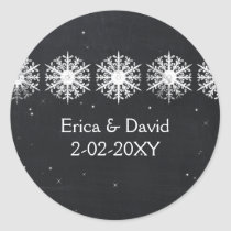 snowflakes chalkboard wedding favors stickers