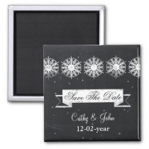snowflakes chalkboard winter Save the date magnet