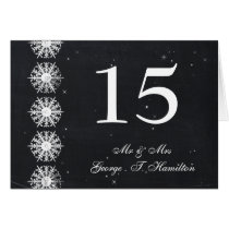 snowflakes chalkboard winter table seating card
