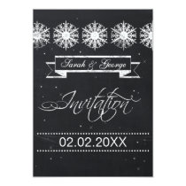 snowflakes chalkboard winter wedding invitation