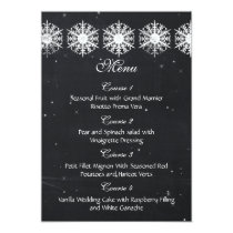 snowflakes chalkboard winter wedding menu card