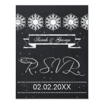 snowflakes chalkboard winter wedding RSVP Card