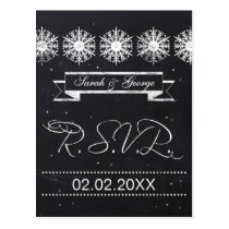 snowflakes chalkboard winter wedding rsvp postcard