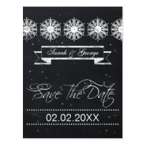 snowflakes chalkboard winter wedding save the date postcard