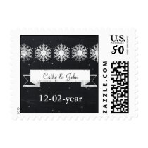 snowflakes chalkboard winter wedding stamps