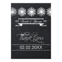 snowflakes chalkboard winter wedding Thank You Card
