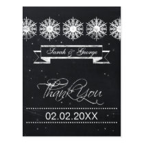 snowflakes chalkboard winter wedding Thank You Postcard