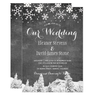 Snowflakes chalkboard winter woodland wedding card