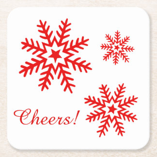 Snowflakes Cheers! | CHOOSE YOUR BACKGROUND COLOR Square Paper Coaster
